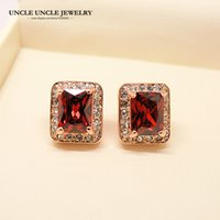 Wholesale Red Austrian Crystal Earrings - Rose Gold Plated Red Ruby Austrian Crystal Rectangle Princess Cut Woman Stud Earring Wholesale