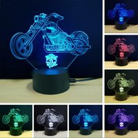 Wholesale country toys resale online - New D Cross country Motorcycle Lamp Colorful USB LED Nightlight Visual Remote Touch Switch D Night Light Illusion Child Bedroom Toy Decor