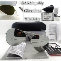 Wholesale mirrored side - AAAAA Quality Glass Lens Sunglasses Women Men 58mm 62mm Side Pilot Classic Brands UV400 Glasses Retro Mirror Wholesale Eyewear With Case Box