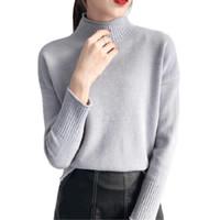 tops de cuello alto sexy al por mayor-2018 Moda coreana Mujer Suéteres y jerseys Sueter Mujer Cuello alto Sólido Slim Sexy Elástico Mujer Tops Mujer Artículos de punto