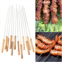 Wholesale needle skewer - 12PCS Stainless Steel BBQ Roast Skewers Needle Handle Kabob Sticks Outdoor Picnic BBQ Barbecue Tool Outdoor Gadgets OOA5158