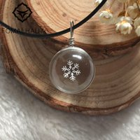 Wholesale Crystal Elk - whole saleHot FOMALHAUT Crystal glass Ball Snowflake Christmas elk Leather Chain Dried flower Pendant Necklace Women 2016 Jewelry XX-24