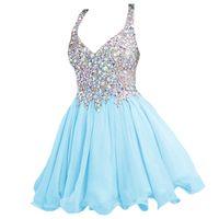 royal blue prom dresses diamonds UK - 2018 New Summer Sexy Deep V-Neck Diamond Fashion Party Prom Short Dresses Chiffon Lace Champagne Strap Halter Cocktail Dresses Small Dresses