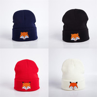 Wholesale red fox sale - Women New Arrival Embroidery Fox Knitted Hat Multicolor Outdoor Designer Beanie Keep Warm Popular Hot Sale 5 5hb aa