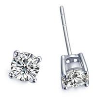 cestas de oro plata al por mayor-Basket Stud Earrings For Women 4 Prong Design 4ct / par SONA Diamantes sintéticos Earrings 18K Oro blanco plateado 925 Soild Silver Engagement
