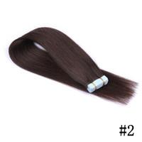Wholesale brown human tape hair extensions resale online - Straight Hair Bundles Russian Human Hair Tape Hair Extensions set Brown Color Top Quality FDSHINE