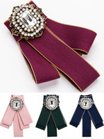 старинные галстуки-бабочки оптовых-Женщины Кристалл Rhinestone галстук-бабочку брошь корсаж мода старинные Леди мужчины свадьба брошь галстук Pin бантом аксессуары бесплатная DHL H419R
