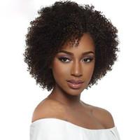 grandes pelucas afro onduladas al por mayor-NUEVO caliente afro corto rizado rizado peluca brasileña pelo afroamericano simulación del pelo humano rizado pelucas llenas en gran stock