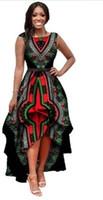 ropa tradicional al por mayor-Vestidos africanos Poliéster Ropa africana tradicional Tiempo limitado Real 2018 Gran Swing Cintura Vestido sin mangas Impresión de las mujeres