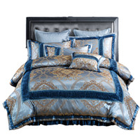 Wholesale Silk Sheets Double - Bedding Set Satin Silk Cotton Jacquard Flat Sheet Duvet Cover Pillowcase Queen King Size 4PC Bedding Sets For Single Double Bed