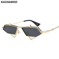 Wholesale vintage travel accessories for sale - Group buy Kachawoo flip up sunglasses men punk style red blue triangle metal vintage sun glasses for women travel accessories
