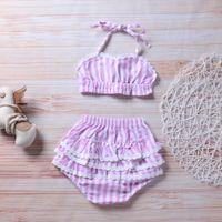 bikini gratis para niños al por mayor-2018 Summer Hot Sell Baby girls traje de baño a rayas Kids Bikini traje de baño niñas Bikinis niños ropa envío gratis