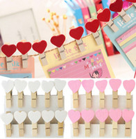 Wholesale Mini Wooden Heart Clips - 10pcs bag Beautiful Design Love heart 3.5cm Mini Color Wooden Clips Decorations Paper Photo Spring Clips For Message Cards Office Supply