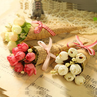 Wholesale plastic bouquet - Hand Made Newspaper Flowers Plastic Mini Simulation Bouquet For Christmas Valentines Day Gift Flower For Wedding Decorations 2fm B