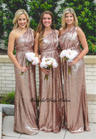 Wholesale straight ivory wedding dresses - Sparkly Sequins Bridesmaid Dresses One Shoulder Floor Length Straight Long Dress For Bridesmaid 2018 Cheao Women Wedding Party Gowns