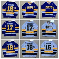 chiefs hockey 2018 - Vintage The Movie Slap Shot Charlestown Chiefs 18 Jeff Hanson 16 Jack 17 Steve White Blue Stitched Hockey Jersey