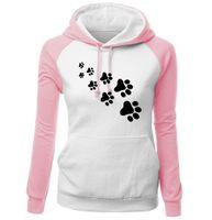 Wholesale harajuku cartoon hoodies women resale online - 2018 Autumn Winter Fleece Women S Sportswear Harajuku Print Cat Paws Cartoon Kawaii K Pop Clothing Streetwear Hoodies Sweatshirt
