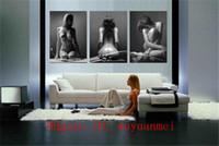 ingrosso ragazze nude stampa hd-Sexy ragazza nuda, 3 pezzi Home Decor HD Stampato arte moderna pittura su tela (senza cornice / con cornice)