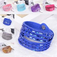 Wholesale crystal leather cuff - Colorful Crystal Wrap Bracelet Multilayer Velvet Leather Diamond Bracelets wristband bangle band cuff for WomenJewelry drop ship 162035
