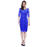 8502d5a55 Loveying mujeres elegante vestido de lápiz medias mangas Vestidos Royal  Blue Wedding Office Business Cóctel Bodycon Retro Vestidos de encaje negro  2018