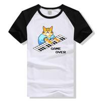 kedi temel toptan satış-Yaz Erkekler T Gömlek Komik Baskılı Gevşek Temel Tee Kedi Baskılı O-Boyun Kısa Kollu Üst Giysiler