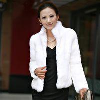 coelhos brancos venda por atacado-Inverno Das Mulheres De Luxo Casaco De Pele De Coelho Grosso Quente Faux Fur Jacket Manga Longa Senhoras Casaco Fofo Branco Preto Feminino Outerwear A4