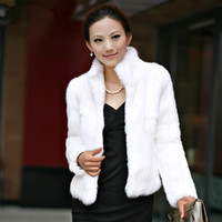 luxus faux pelzmäntel großhandel-Winter Womens Luxury Kaninchen Pelzmantel Dicke Warme Kunstpelz Jacke Langarm Damen Flauschigen Mantel Weiß Schwarz Weibliche Oberbekleidung A4