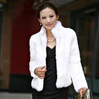 chaleco de piel sintética envío gratis al por mayor-Abrigo de piel de conejo de lujo para mujer de invierno grueso cálido chaqueta de piel sintética de manga larga señoras mullido abrigo blanco negro hembra prendas de vestir exteriores A4