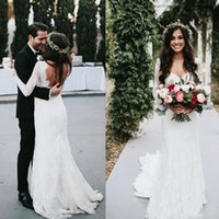 Wholesale Wedding Dresses For Outdoors - Sexy Backless Bohemian Mermaid Wedding Dresses Sheer Long Sleeves Sweep Train 2018 Fall Winter Lace Boho Bridal Gowns For Garden Outdoor
