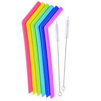 ingrosso tazze colorate-Paglia siliconica colorata per uso alimentare per 20 once, 30 once, tazza, gel di silice, cannuccia con pennello