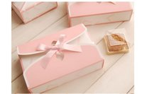 Wholesale wholesale bakery boxes free shipping - 100pcs pink 6 Count Geshe point box packaging box cake box bakery packaging free shipping