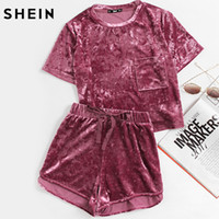 crushed velvet Australia - SHEIN Women Two Piece Outfits Purple Short Sleeve Pocket Front Crushed Velvet Top and Bow Shorts Set Women Sets Clothes Y1891903