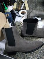 Wholesale cowboy boots wedding dress online - 2018 new handmade kanye west Chelsea boots sip on high wedge ankle wyatt boots JURDG Men luxury dress wedding BOOTS