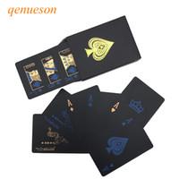 yumuşatma kartı toptan satış-Yeni Kalite Plastik PVC Poker Pürüzsüz Su Geçirmez Siyah Iskambil Kartları Altın kaplama Yaratıcı Hediye Dayanıklı Poker Kurulu Oyunları qenueson