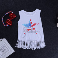 Wholesale knee length glitter dresses - Baby Girls Tassel Dress Sequins Striped Headband American Flag Star Glitter Freedom Printed 4th of July Kids Vest Skirt Cotton Outfit