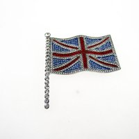 Wholesale Uk Brooch - Latest Brooch Pin Newest Clear Rhinestones Brooch Bouquet Silver Color Flag Brooches Wholesale For UK Union Jack Flag Brooch