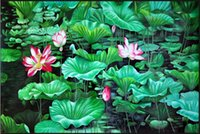Wholesale live pond - wallpaper for bedroom walls 3D outdoor painting lotus pond moonlight three-dimensional creative bathroom floor