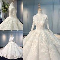Wholesale vintage wedding dresses lace tiered red online - Latest Muslim Wedding Dresses Ball Gown High Neck Long Sleeve Lace Appliques Bridal Dresses Charming Wedding Gowns