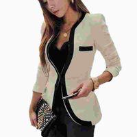 blazers tamanho feminino mais venda por atacado-Mulheres Moda Blazers Plus Size S-2XL manga comprida V-Neck Suit cor sólida Mulheres Slim ocultos Breasted Blazers