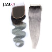 Wholesale brazilian human hair ombre grey for sale - Group buy Ombre b Grey Brazilian Virgin Human Hair Lace Closure Peruvian Malaysian Indian Cambodian Body Wave Straight Hair Swiss Closures x4 Size