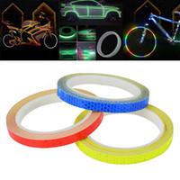 pegatinas de rueda azul al por mayor-1PC 8 medidor Car Styling reflectante raya de la cinta de la bici cuerpo de llanta de la rueda de la raya de la cinta de la etiqueta engomada azul / rojo / amarillo