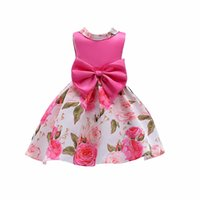 Wholesale Girls Tied Skirt - Girls Dresses Europe and the United States printed bow tie with big children's dress skirt,2 color DHL free shipping