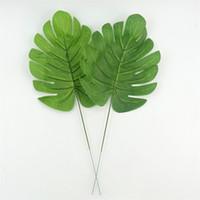 follaje de seda al por mayor-Boda 50 piezas grande de seda artificial hoja verde tropical palmera follaje hojas tema hawaiano fiesta boda hogar jardín decoraciones