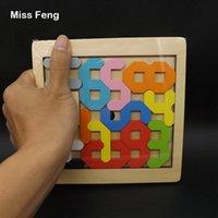 geometrische figur großhandel-Spaß Figur Zahl Mathematisches Spiel Kinder Spielzeug Holz Puzzle Geometrisches Modell Geburtstagsgeschenk Weihnachtsgeschenk