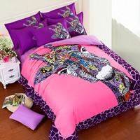 ingrosso set di lenzuolo 3d-Di alta qualità 3d biancheria da letto giraffa set rosa bambini copripiumino lenzuolo Federa 4 pz / 3 pz regina king size 100% cotone biancheria da letto