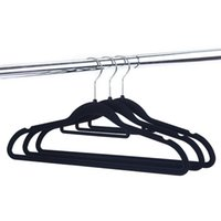 Wholesale garment hangers resale online - Thickening Flocking Coat Hangers Home Multi Function Couture Non Slip Clothes Racks Velvet Black High Grade hf Ww