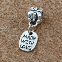 """Wholesale beads 23mm - MIC .200pcs lot Antiqued Silver Alloy Single-sided """"Made With Love"""" Tag Charms Big Hole Bead Fit European Charm Bracelet Jewelry 8x 23mm"""