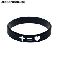 Wholesale Glow Crosses - Wholesale 100PCS Lot Religious Faith Bracelet Jesus Cross Fair and Love Silicone Bangle Ink Filled Logo Fashion Bangle
