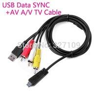 sony cybershot großhandel-USB-Datenkabel SYNC + AV A / V TV-Kabel Kabel für Sony CyberShot T99C T99DC HX7 WX5C W360 W570 WX30