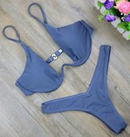 micro nadar terno biquíni venda por atacado-Spandex New Alta Corte Thong Maiô Cintura Alta Swimsuit Sólidos Swimwear Mulheres Biquini Brasileiro Swim Praia Micro Bikini Set